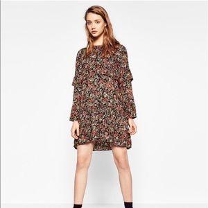 Zara | Floral Print Ruffle Long Sleeve Mini Dress